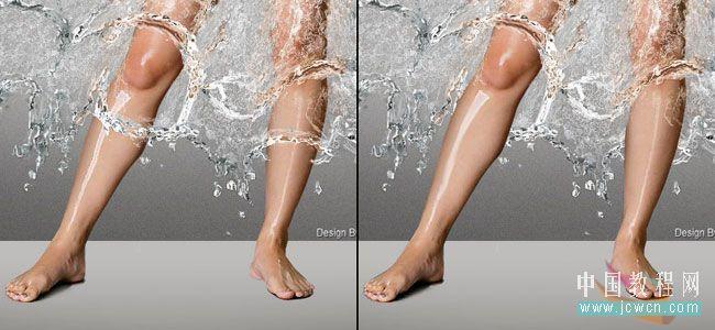 Photoshop教程:用玻璃滤镜给美女穿上水裙子_中国教程网